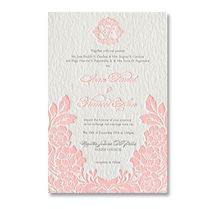 Wedding invitations manila philippines letterpress wedding letterpress floral pink monogram bataan wedding invitation stopboris Image collections