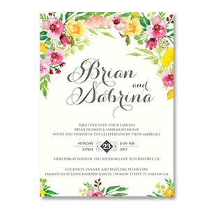 Wedding invitations manila philippines letterpress wedding watercolor vibrant flowers california usa wedding invitation stopboris Choice Image